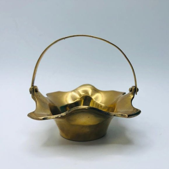 Small Vintage Brass Decorative Basket